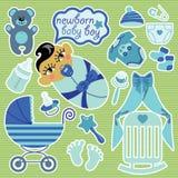 Éléments mignons pour le bébé garçon nouveau-né asiatique. Images libres de droits