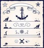 Éléments nautiques de conception Photographie stock