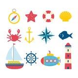 Éléments nautiques de conception dans le style plat Photos stock