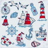 Éléments nautiques de conception de mer illustration stock