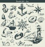 Éléments nautiques de griffonnage Photographie stock