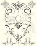 Éléments noirs de conception florale illustration stock