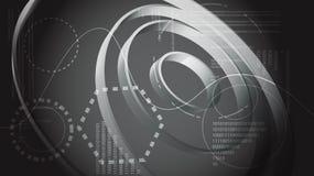 Éléments numériques de technologie énergétique moderne abstraite noire et blanche de l'affichage de HUD de la future interface ci illustration libre de droits