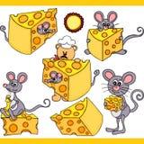 Éléments numériques réglés mignons de souris et de fromage Image stock
