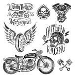 Éléments peints à la main de moto illustration stock