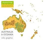 Éléments physiques de carte d'Australie et d'Océanie Établissez votre propre geog illustration libre de droits