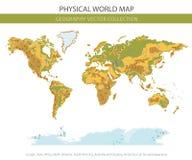 Éléments physiques de carte du monde Établissez votre propre graphique d'infos de géographie illustration libre de droits