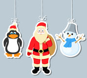Éléments, pingouin, père noël et snowm de Noël Photographie stock libre de droits