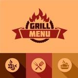 Éléments plats de conception de menu de gril Photos stock