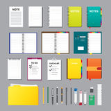 Éléments plats de conception de notes Photos stock