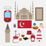 Éléments plats turcs de scénographie, point de repère d'Istanbul, Turquie Symboles, architecture et nourriture Photographie stock