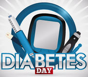 Éléments pour le traitement du jour de Sugar Levels Commemorating World Diabetes, illustration de vecteur Images libres de droits