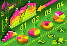 Éléments réglés d'histogramme isométrique d'Infographic dans diverses couleurs Photos libres de droits