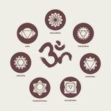 Éléments réglés d'icône de Chakra et calligraphie de l'OM Photographie stock libre de droits