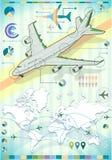 Éléments réglés d'Infographic avec l'avion Images libres de droits