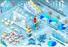 Éléments réglés isométriques d'hiver d'Infographic dans diverses couleurs Photos libres de droits