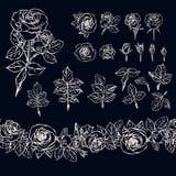 Éléments roses d'isolement d'ensemble sur le fond foncé Brus sans couture illustration de vecteur