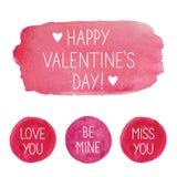 Éléments roses de conception d'aquarelle de jour du ` s de Valentine Photographie stock