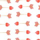 Éléments rouges de jour de valentines de flèches de modèle de flèche d'aquarelle illustration de vecteur