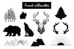 Éléments sauvages de conception de vecteur tiré par la main Forest Silhouettes Image libre de droits