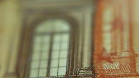 Éléments sur une monnaie fiduciaire de note de l'euro 50 Macro vue clips vidéos