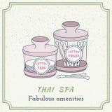 Éléments thaïlandais tirés par la main de conception de massage et de station thermale Images libres de droits
