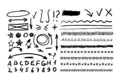 Éléments tirés par la main abstraits de vecteur, flèches, marques de correction illustration libre de droits