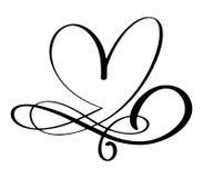 Éléments tirés par la main de concepteur de calligraphie de séparateur de coeur de flourish de frontière d'amour Mariage de vinta Photo libre de droits