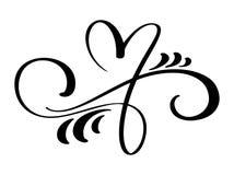 Éléments tirés par la main de concepteur de calligraphie de séparateur de coeur de flourish de frontière d'amour Mariage de vinta Photos libres de droits