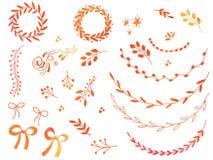 Éléments tirés par la main de conception de griffonnage d'aquarelle illustration libre de droits