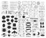Éléments tirés par la main de croquis sur un papier, illustration de vecteur, ligne éléments graphique, rubans de style de vintag Image stock