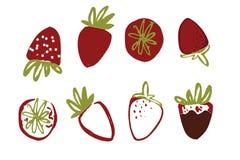 Éléments tirés par la main de fraises pour vous Image stock