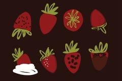Éléments tirés par la main de fraises pour vous Photo stock
