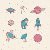Éléments tirés par la main de l'espace de vecteur : cosmonaute, satellites, fusée, planètes, lune et UFO Images stock