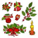 Éléments tirés par la main de Noël Image stock