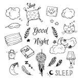 Éléments tirés par la main de vecteur - bonne nuit illustration libre de droits