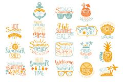 Éléments tirés par la main pour la conception calligraphique de logo d'été Vacances de plage et concepts chauds de vente Lettrage illustration de vecteur