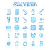 Éléments Tone Icon Pack bleue - 25 ensembles d'école d'icône illustration stock