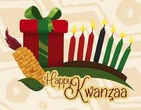 Éléments traditionnels de Kwanzaa avec le message de salutation et le cadeau, illustration de vecteur Photos libres de droits