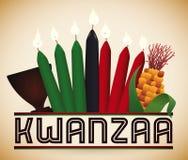 Éléments traditionnels de Kwanzaa, illustration de vecteur Photographie stock libre de droits