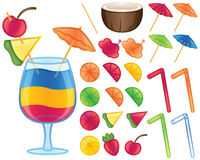 Éléments tropicaux de boissons illustration stock