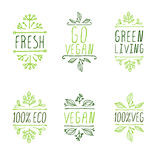 éléments typographiques Main-esquissés Labels de produit de Vegan Photo libre de droits