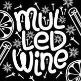 Éléments typographiques tirés par la main de vin chaud mignon marquant avec des lettres sur le fond de tableau noir illustration de vecteur