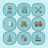 Éléments universels de bâtiment d'icônes linéaires de vecteur de construction et illustration plate d'outils d'industrie d'équipe illustration stock