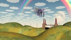 Éléphant à ailes par paysage d'imagination Photo stock