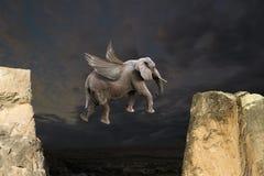 Éléphant abstrait de vol d'amusement avec le concept d'ailes Images stock