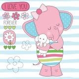 Éléphant avec l'illustration enorme de vecteur de bébé illustration libre de droits