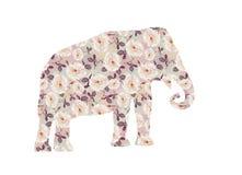 Éléphant avec le modèle rose image libre de droits