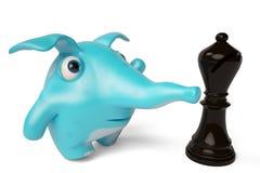 Éléphant bleu mignon de bande dessinée et échecs, illustration 3D Image libre de droits