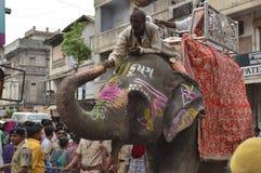 Éléphant chez Rathyatra, Ahmedabad photos libres de droits